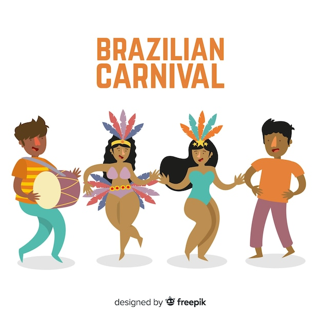 Hand getrokken carnaval danser collectie Gratis Vector