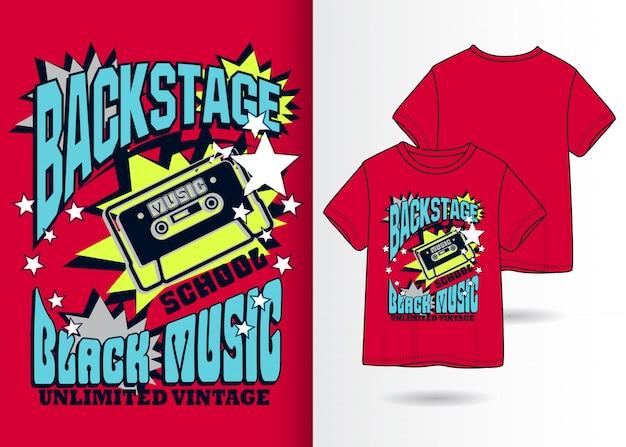 Hand getrokken cassetteillustratie met t-shirtontwerp Premium Vector