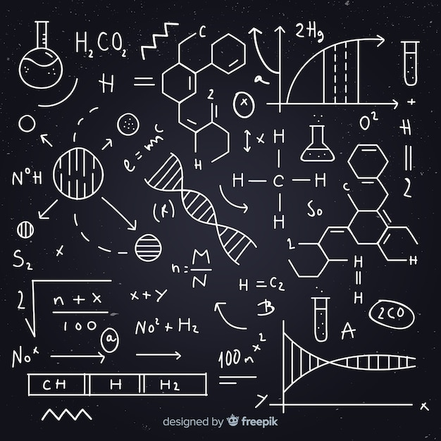 Hand getrokken chemie vergelijking schoolbord Gratis Vector