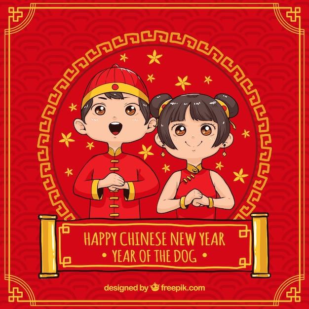 Hand getrokken chinese nieuwe jaarachtergrond Premium Vector