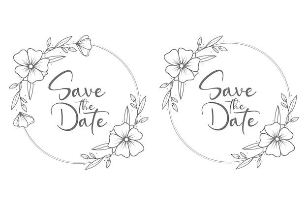 Hand getrokken cirkel stijl minimale bruiloft badge frame en monogram Premium Vector
