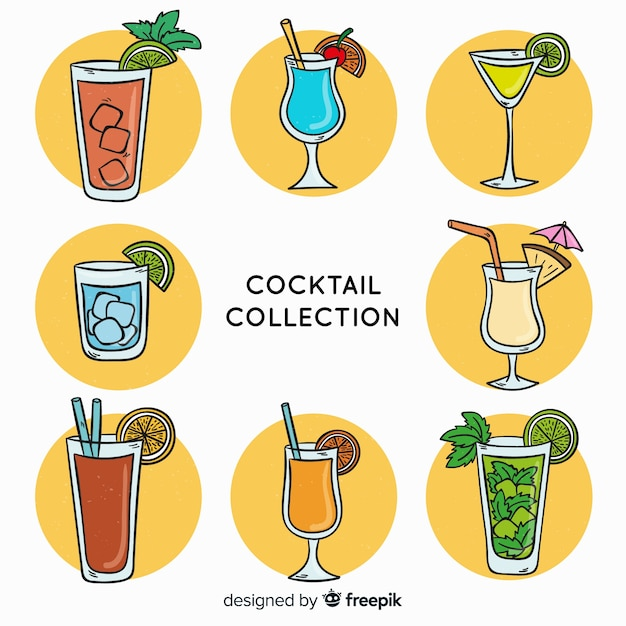 Hand getrokken cocktail set Gratis Vector