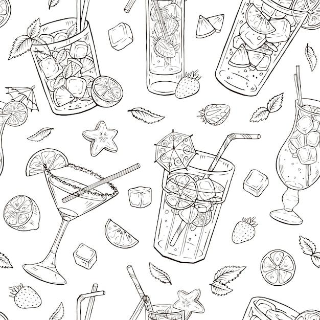Hand getrokken cocktails naadloos patroon Premium Vector