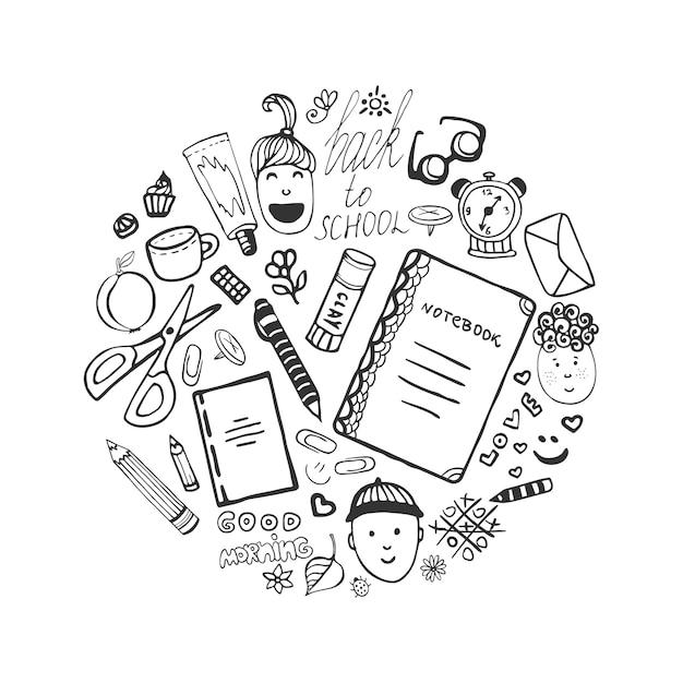 Hand getrokken collectie met school briefpapier en kinderen pictogrammen Premium Vector
