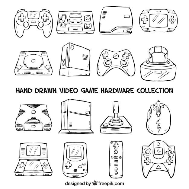 Hand getrokken consoles Premium Vector