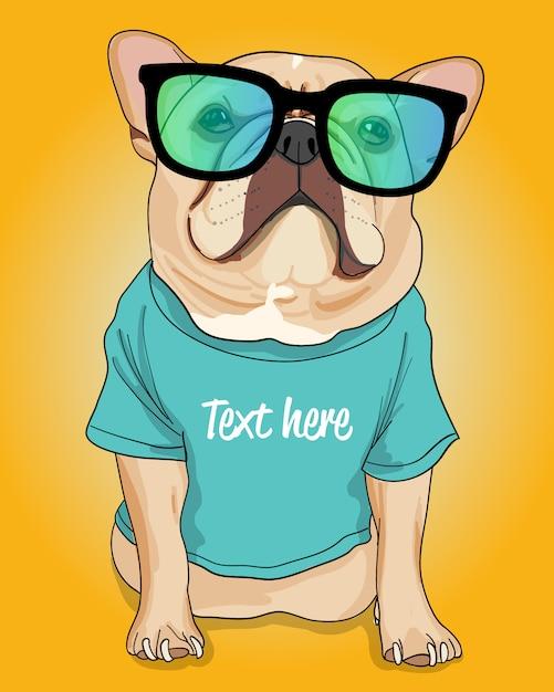 Hand getrokken coole hond illustratie Premium Vector
