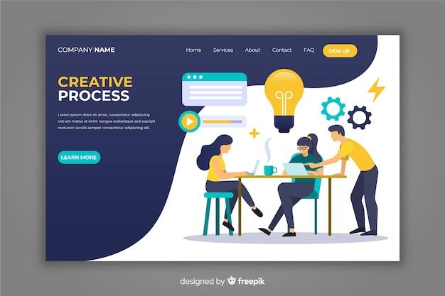 Hand getrokken creatieve proces bestemmingspagina Gratis Vector