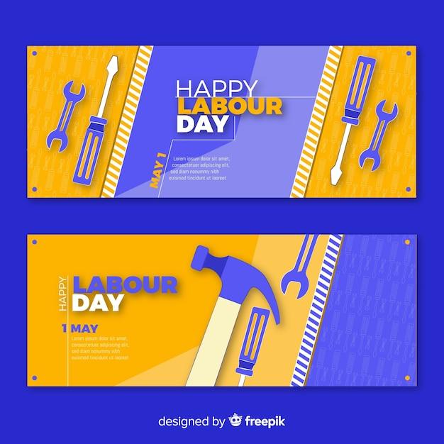 Hand getrokken dag van de arbeid banners Gratis Vector