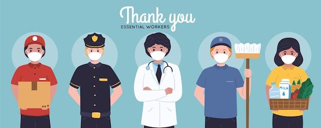 Hand getrokken dank u essentiële werknemers Gratis Vector