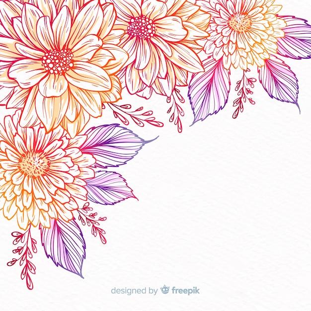 Hand getrokken decoratieve bloem frame Gratis Vector