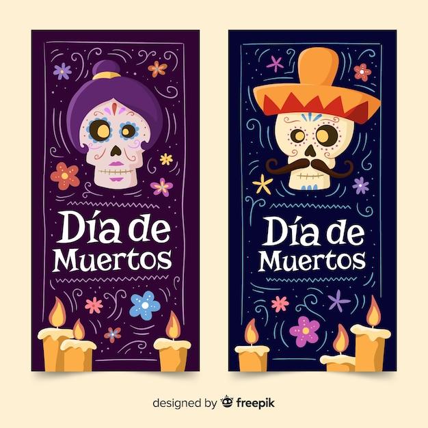Hand getrokken día de muertos banners Gratis Vector