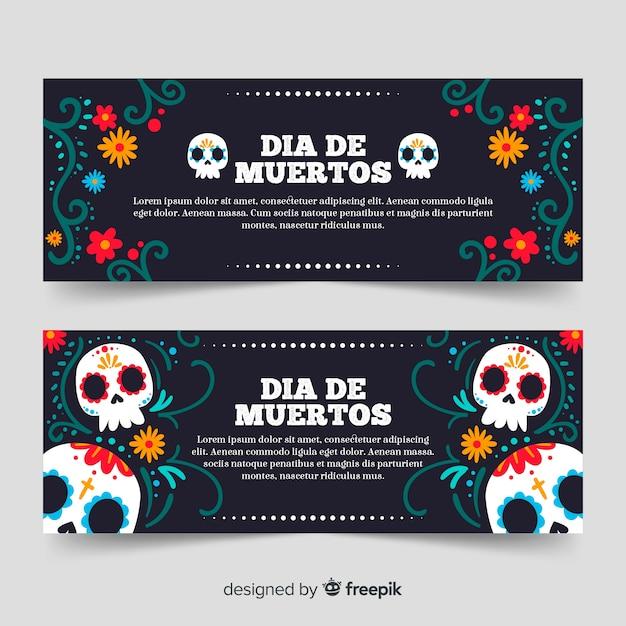 Hand getrokken dia de muertos banners Gratis Vector