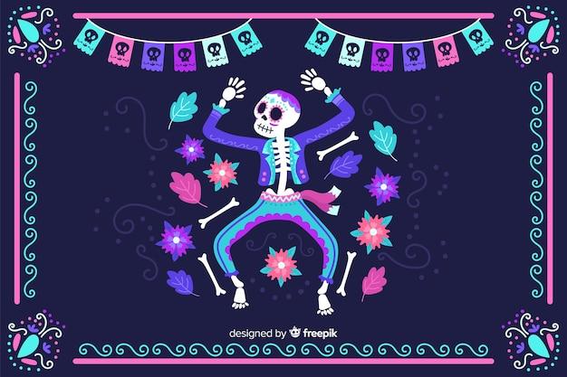 Hand getrokken día de muertos neon skelet dansende achtergrond Gratis Vector