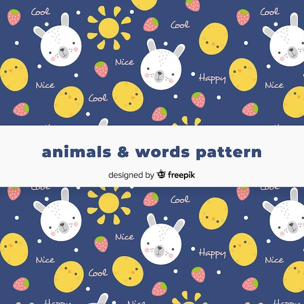 Hand getrokken dieren en woordenpatroon Gratis Vector