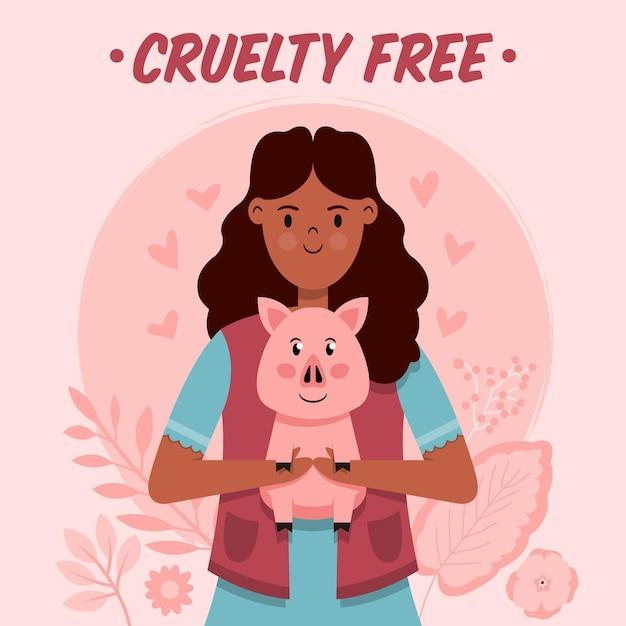 Hand getrokken dierproefvrije en veganistische illustratie Gratis Vector