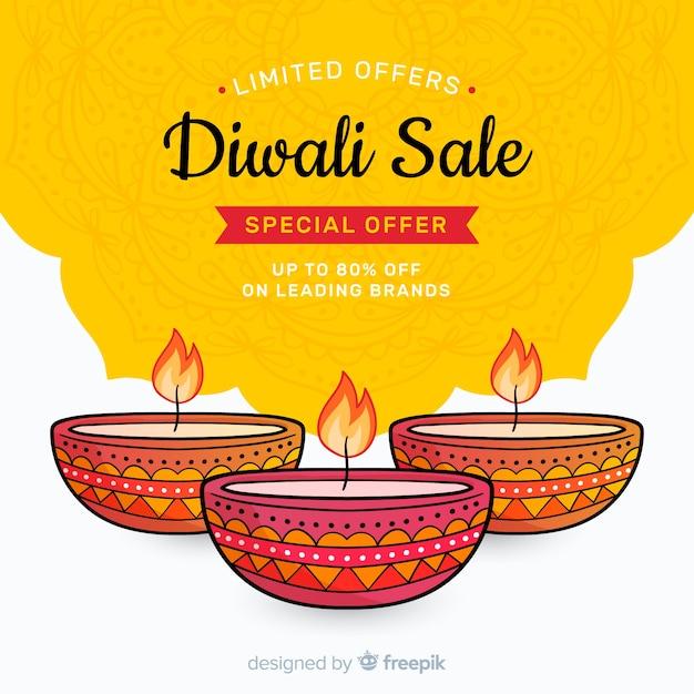 Hand getrokken diwali verkoop en kaarsen Gratis Vector