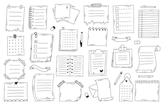 Hand getrokken doodle aantekeningen op papier. schetsnotitieboekje, lijst, planner en dagboek, bullet journal-vellen. doodle notities ingesteld. notitiepapier memo, notebook hand getekend schetsmatig Premium Vector