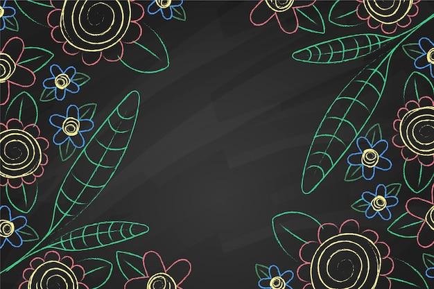 Hand getrokken doodle bloemen en bladeren achtergrond Gratis Vector