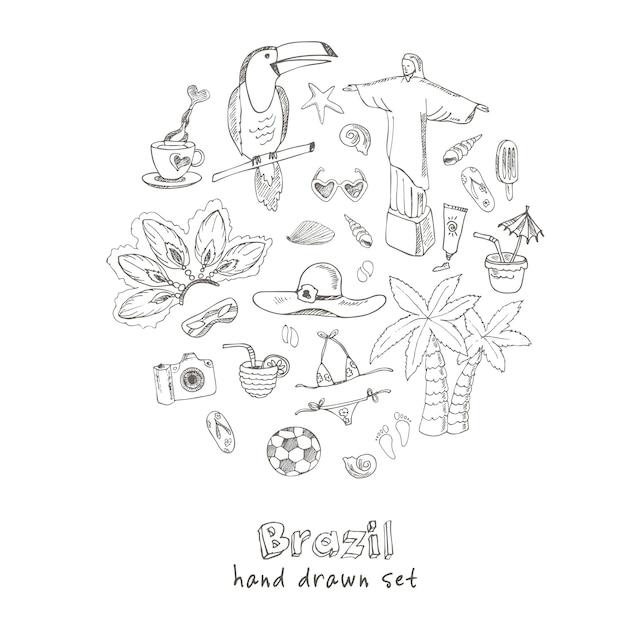 Hand getrokken doodle brazilië symbolen set Premium Vector