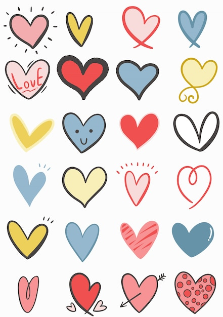 Hand getrokken doodle hart collectie Premium Vector