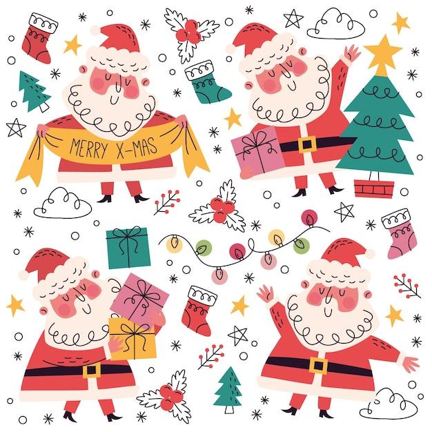 Hand getrokken + doodle kerstcollectie Gratis Vector