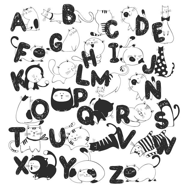 Hand getrokken doodle kinderen alfabet met grappige katten Premium Vector