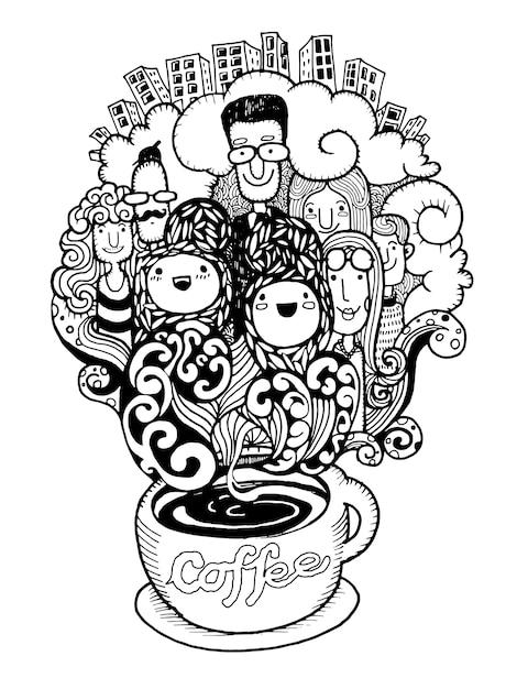 Hand getrokken doodle koffie achtergrond, illustrator lijn hulpmiddelen tekenen Premium Vector