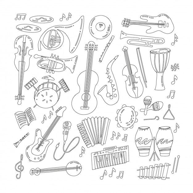 Hand getrokken doodle muziekinstrumenten Premium Vector