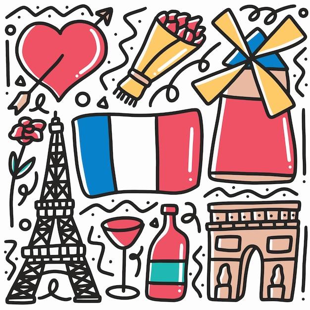 Hand getrokken doodle parijs vakantie met pictogrammen en ontwerpelementen Premium Vector