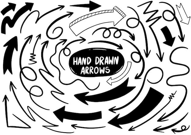 Hand getrokken doodle pijlen Premium Vector
