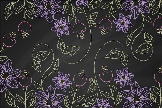 Hand getrokken doodle violette bloemen achtergrond Gratis Vector