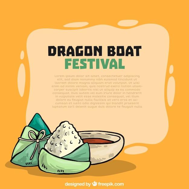 Hand getrokken drakenboot festival achtergrond Gratis Vector