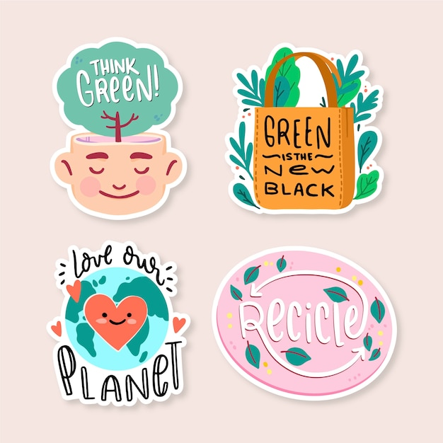 Hand getrokken ecologie badges voor een betere wereld Gratis Vector