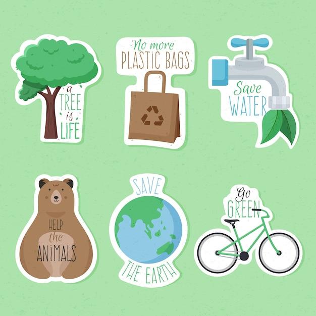 Hand getrokken ecologie badges Gratis Vector
