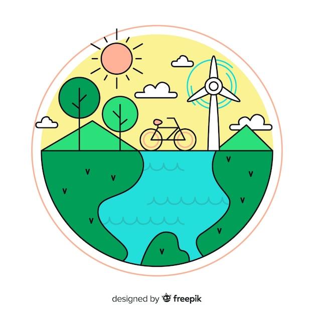 Hand getrokken ecologie concept achtergrond Gratis Vector