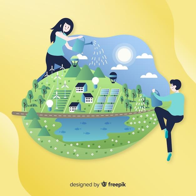 Hand getrokken ecologieconcept met natuurlijke elementen Gratis Vector