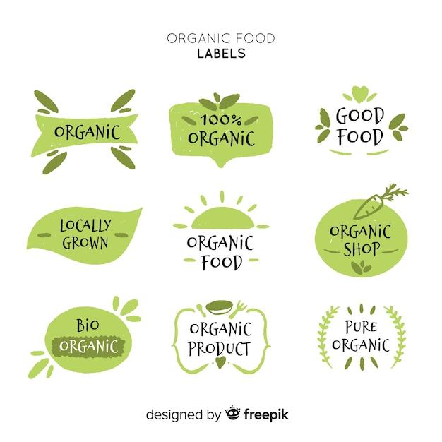 Hand getrokken eenvoudige biologisch voedseletikettenpak Gratis Vector