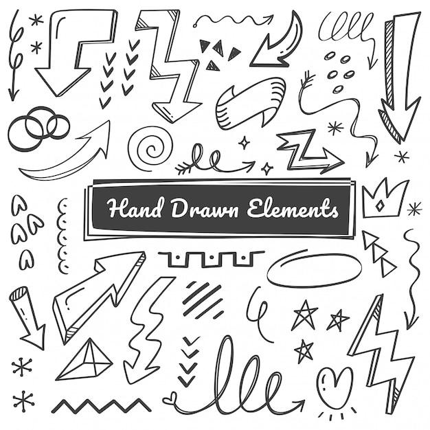 Hand getrokken elementen, pijl, swish doodles Premium Vector