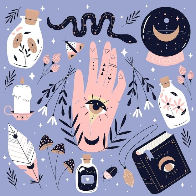 Hand getrokken esoterische elementen instellen Gratis Vector
