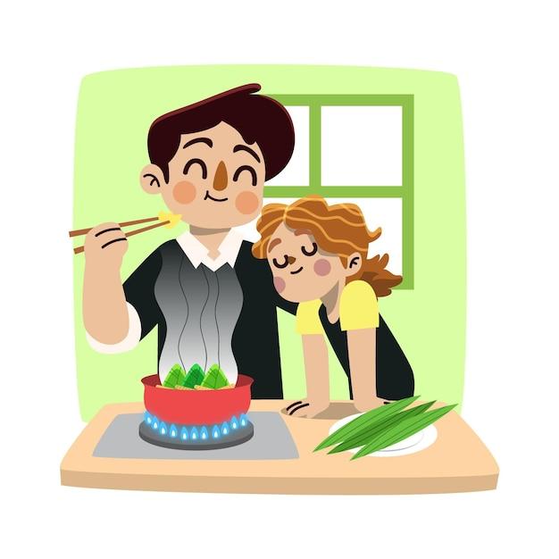 Hand getrokken familie die en zongzi voorbereidt eet Gratis Vector