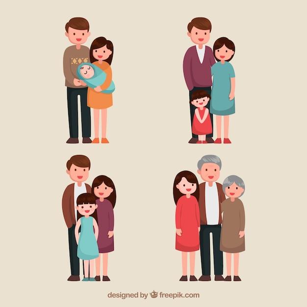 Hand getrokken familie in verschillende levensstadia Premium Vector