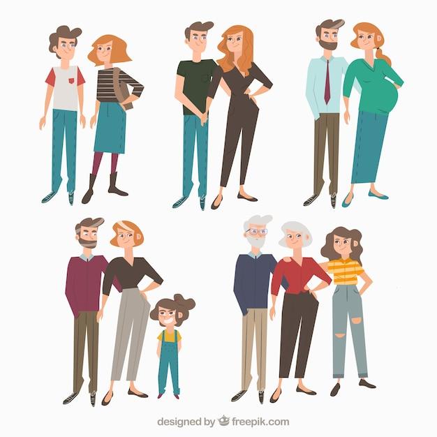 Hand getrokken familie in verschillende levensstadia Gratis Vector