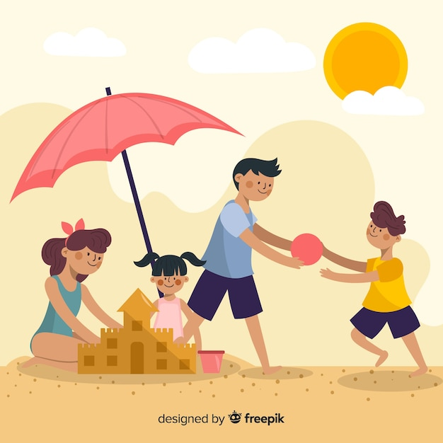 Hand getrokken familie op het strand Gratis Vector