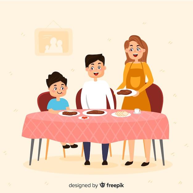Hand getrokken familie rond de tafel Gratis Vector