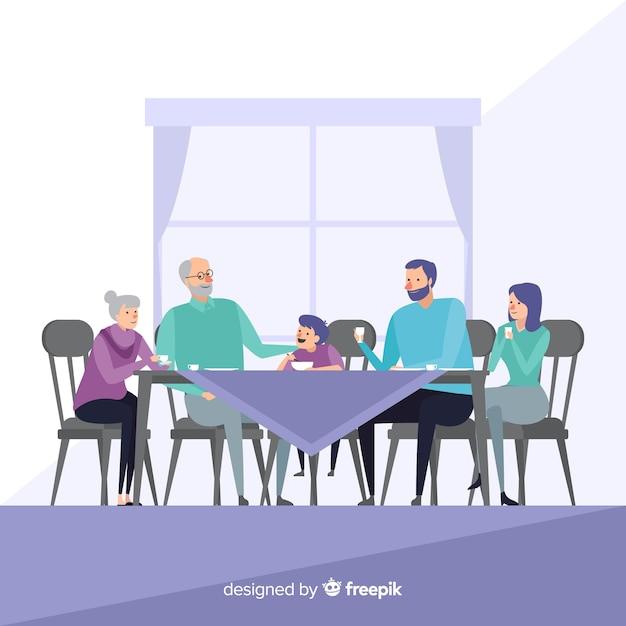 Hand getrokken familie samen eten Gratis Vector