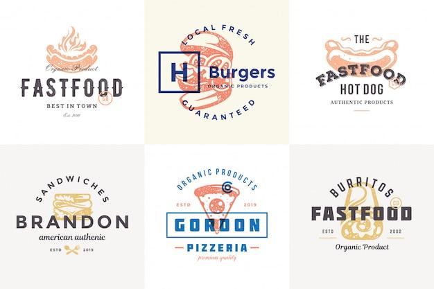 Hand getrokken fastfoodemblemen en etiketten met moderne uitstekende typografie retro stijl vastgestelde vectorillustratie. Premium Vector