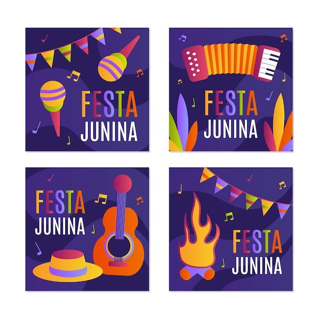Hand getrokken festa junina kaartcollectie sjabloon Gratis Vector