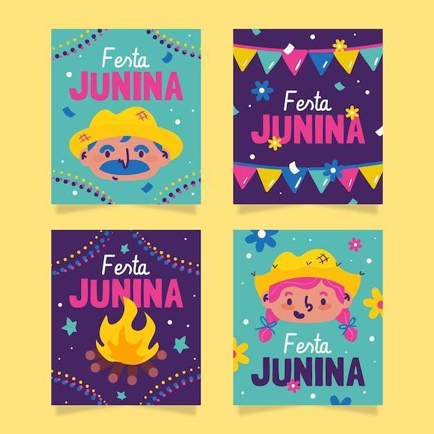 Hand getrokken festa junina-kaartcollectie Gratis Vector