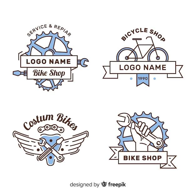 Hand getrokken fiets logo collectio Gratis Vector