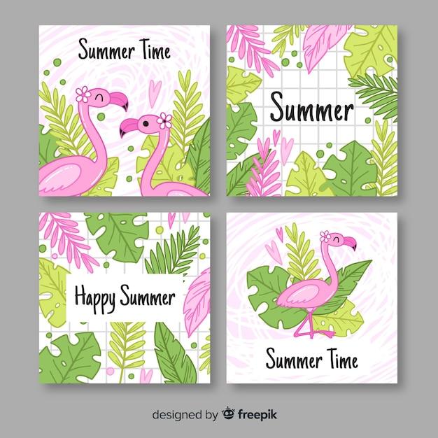Hand getrokken flamingo's en laat zomer label collectie Gratis Vector